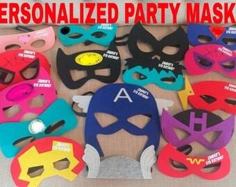 Ten (10) Personalized Felt Superhero Felt Masks - Superhero Birthday Party Favors! Pick Any Mixture!
