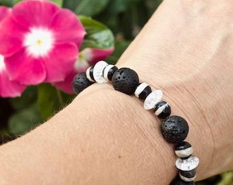 Aromtherapy bracelet, Diffuser bracelet, Natural stone bracelet, Essential oil bracelet, Black beaded bracelet, Lava rock bracelet, Gift