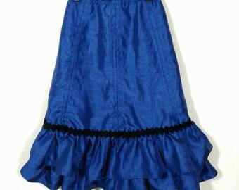Vtg Shiny Blue Quincinera Formal Prom Fishtail Mermaid Skirt, Girls Sz Medium
