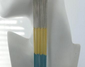 Statement Earrings, Long Chain Earrings, Colored Chain Earrings, Silver, Yellow, Turquoise, Shoulder Duster Earrings