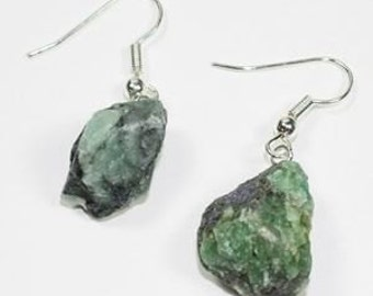 Rough Emerald Earrings w/ Silver Plated Earwire (ER17BT)