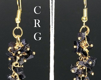 Gold Plated Blue Goldstone Grape Cluster Earrings (GC11DG)