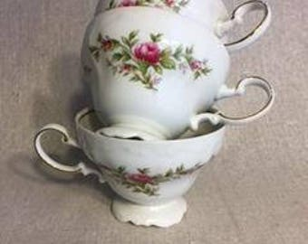 China cups, Johann Haviland cups, Bavaria Germany cups, Moss Rose pattern cups, Shabby chic cups, French country cups, Victorian cups