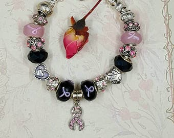 """Ladies Jewelry """"Black & Pink Ribbon """"  European Style Charm Bracelet ~ Crystal Pave, Murano Lampwork Glass Beads, Breast Cancer Awareness"""