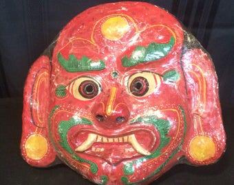 Vintage Handmade Papier Mache Bairab Mask from Nepal Himalayas South Asia Newar People Kathmandu Hinduism Himalayan Tribalism Buddhism Bon