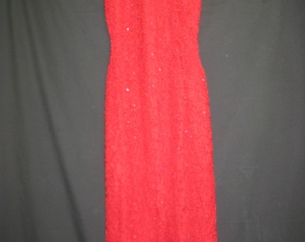 Lace red beaded gown#43