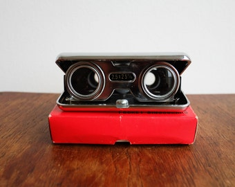 1960's Black Leatherette Pocket Binoculars 2.5 x 2.5 m/m - Japan - in its original box