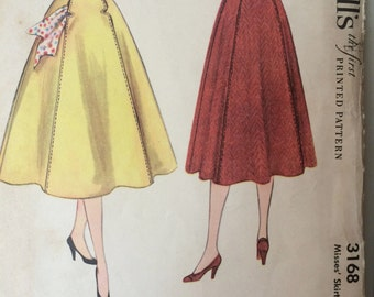 Rare Vintage 1950's Skirt Pattern---McCalls 3168