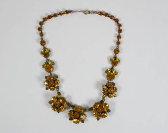 Vintage 1950s amber and yellow paste necklace