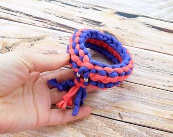 T-Shirt Bracelet,  cotton bracelet, Textile bracelet