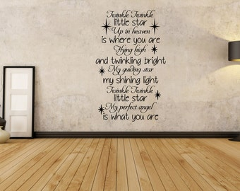 Twinkle Twinkle Little Star, Up In Heaven, Memory Quote, Wall Art Vinyl  Decal Part 94
