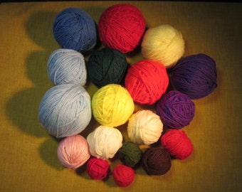 18 balls yarn, assorted colors, worsted wt, 23 oz. total wt. ,purple, blues, reds, yellows, off white,acrylic, knitting, crochet