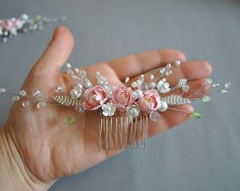 Wedding Hair Comb Handmade Floral Hair Comb Wedding Hair Accessories