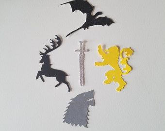 Game of Thrones Confetti - Die Cuts - Set of 50 - Large - Lannister - Baratheon - Stark - Targaryen - Dragon - Sword - Party Decor