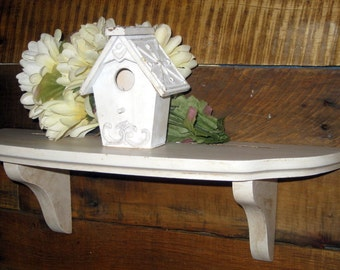 Shabby Painted White and Antiqued with a Brown Glaze Wall Shelf. Small book shelf. Display Shelf