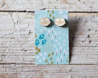 Wooden OWL earrings