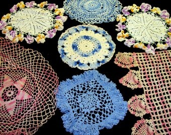 Old doilies lot-old pink doilies-old crochet doilies-old handmade doilies-blue doilies-old flower doilies-antique doilies-hand made doilies