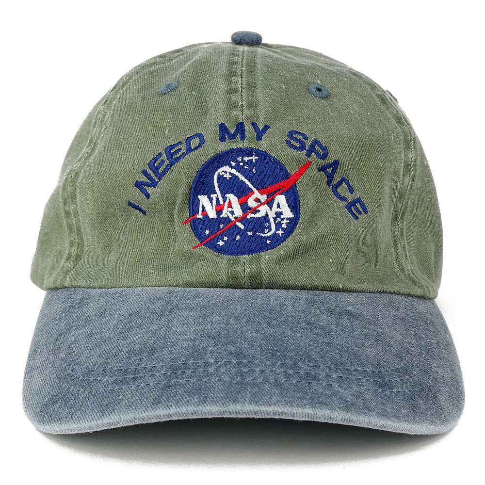 I Need My Space Nasa Meatball Embroidered 100% Cotton Cap  Olive Navy
