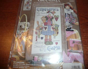 Grandma's My Name Spoiling Grandkids Is My Game Counted Cross Stitch Kit