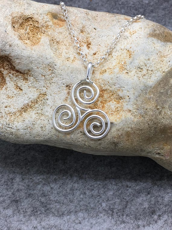 Handcrafted Sterling Silver Triskele Pendant.