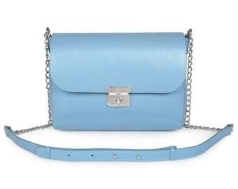 Leather Cross body Bag, Blue Leather Shoulder Bag, Women's Leather Crossbody Bag, Leather bag KF-1011