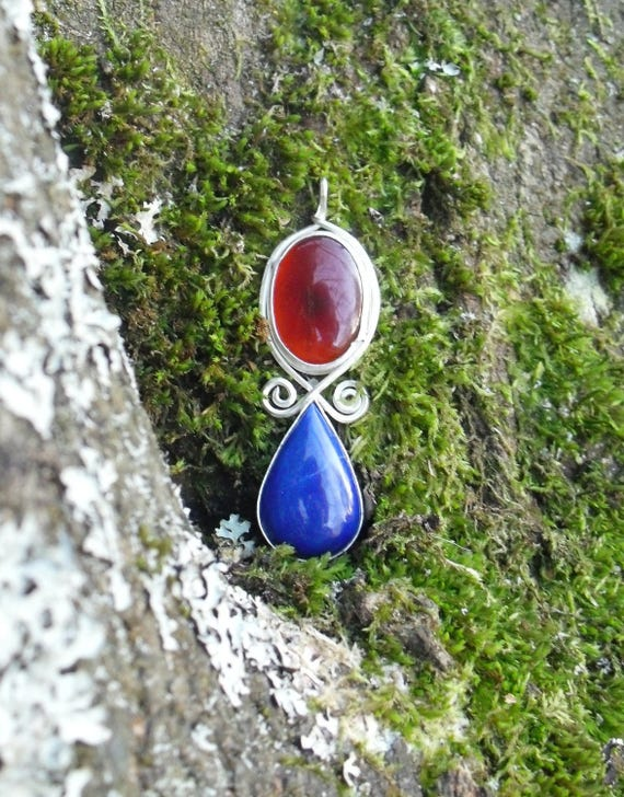Sterling Silver Pendant with Carnelian & Lapis Lazuli