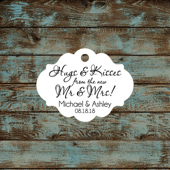 Hugs and Kisses Wedding Reception Favor Tags # 667 Qty: 30 Tags