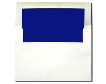 20 White with Sapphire Blue Lined Envelopes - A7 Size