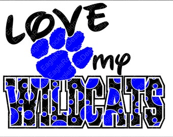 Love My Wildcats SVG, DXF, EPS Cut File for Cameo and Cricut, Wildcats Svg, Paw Svg, Instant Download