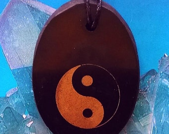 RUSSIAN Oblong Solid Black SHUNGITE Crystal Yin Yang Reiki Pendant with Chain, Tai Chi, EMF Protection