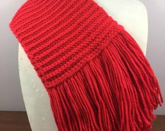 Handmade Red Crochet Scarf