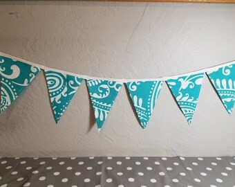 12 ft String of Bunting Flags - Paisley Aqua