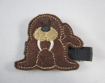 NEW walrus felt embroidered hair clip