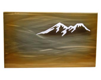 Mountains in Fog Aluminum Art Panel, gift for her, mountain painting, gift for him, modern wall art, lobby wall art, office wall art