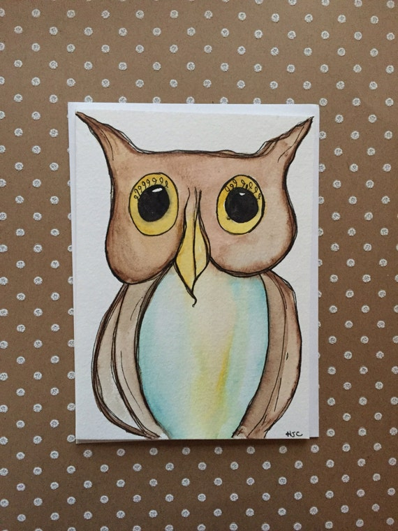 Watercolor Owl Card, Hand Painted Owl Card, Homemade Owl Card