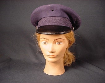 Vintage Old Collectible * Military Hat Cap Dress * Navy Blue Air Force