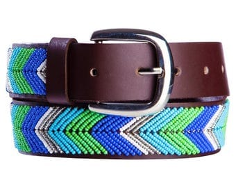 Brown leather beaded belt in blue & green
