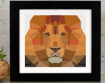 The Lion - Low Poly Geometric Art - Counted Cross Stitch Kit