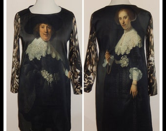 Painting dress 'Rembrandt', print, black grey white green brown, print, nostalgic, size EU 38/40 (USA 8/10 - UK 10/12), cotton, lining