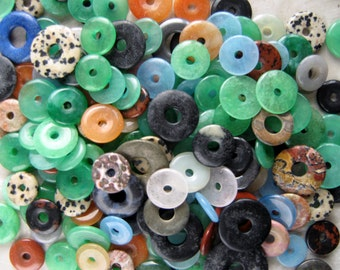 Gemstone Donut Rings - Lot of 12 Carved & Polished Stones, Random Assorted Semi-Precious Gems and Sizes - Beads, Jewelry Making Supplies