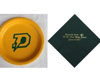 HH Dow High School Chargers, Dow High Plates, Dow High Personalized Graduation Napkins, Chargers Logo, Dow High Logo