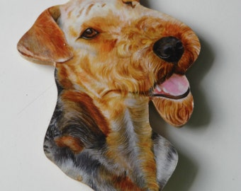 Airedale Terrier Dog Cut Out Wood Board Old Fridge Magnet 10 cm