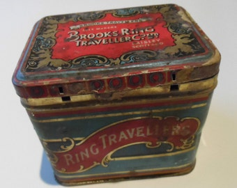 Brooks Ring Travellers Vintage Empty Battered Old Tin No 19 Steel Doublins