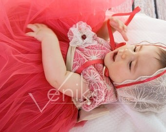 dress in red for baby girl with tulle and fluffy gown tutu dress
