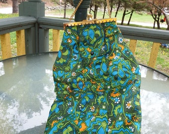 """Unique Vintage Floral 1970's Style Print Handbag Extra Long 17""""  Chain Link Handle Can Be a Lunch Bag Plastic washable lining inside"""