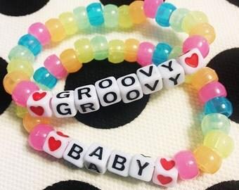 GROOVY BABY glow-in-the-dark kandi bracelets (set of 2)