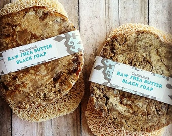 Raw Shea Butter Black Soap w/ Soap Saver