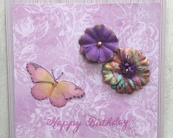 Birthday Card, Birthday, Floral Card, Butterfly Card, Purple Card, Purple Birthday Card, Handmade Card, Birthday Card for Her
