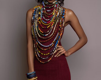 "African Print Ankara Necklace - ""The Legend"" Conversation Piece"