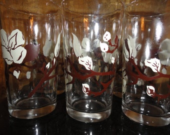 Vintage Mid Century 1950s Hazel Atlas Signed Jamey Swanky Swig Set of 6 Magnolia Designed Drinking Glasses